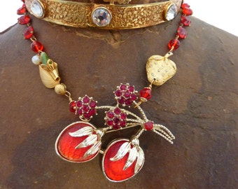 I LOVE STRAWBERRIES vintage assemblage necklace so Antique