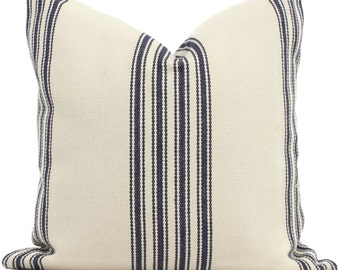 Decorative Pillow Cover, French Grain Sack Style Pillow Cover with Blue Stripes on Off White, Made to order size, Shabby Chic Stripe Pillow