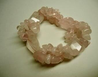 Bracelet, Double Stranded, Stretchy Rose Quartz Bracelet, Pink Bracelet