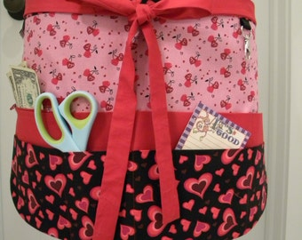 Teacher Aprons-Crafter Vendor Utility Apron-Valentines Teacher Apron-Floating Hearts