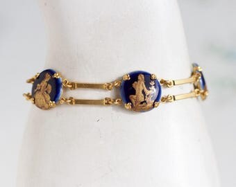 Cobalt Blue Links Bracelet - Regency Panels on Gold - Jane Austen Vinatge Jewelry