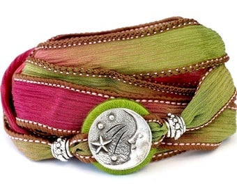 Moon O'er the Garden, Silk Wrap Bracelet, Whirly Wrap, Man in the Moon pewter button, pink  green silk hues, easy off and on, secure magnet
