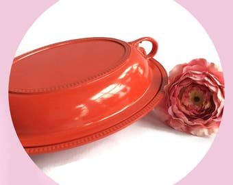 Red enamel ware vegetable dish, Retro wedding, dining entertaining, Vintage Silver Plate Re-surfaced by BMC Vintage Design Studio FOOD SAFE
