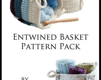 Crochet Pattern ~ Entwined Basket Pattern Pack ~ Crochet Pattern