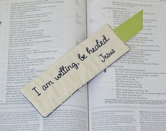 Christian Bookmark, Religious Book Accessory, I Am Willing Be Healed Hand Embroidery, Bible Study Thank You Gift, Navy Blue Cream Polka Dot