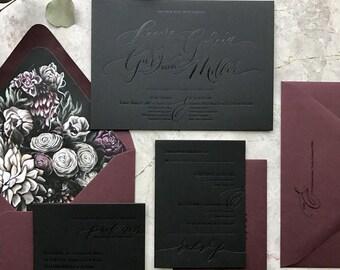 Moody Florals Calligraphy Custom Letterpress Wedding Invitations - Black on Black foil letterpress invitation - Dark Wedding Invitation