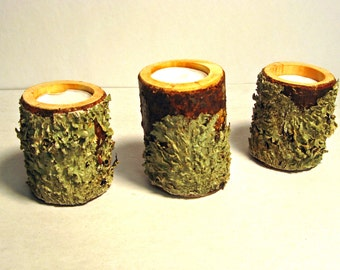 TEA CANDLE LOGS - Pine Logs - Set of 3 - w/ Natural Lichens and Moss - Tea Candles - Home Decor - Rustic Decor - Cabin Decor - Natural Decor