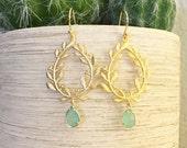 Laurel Leaf Mint Drop Stone Earrings ~ Gold