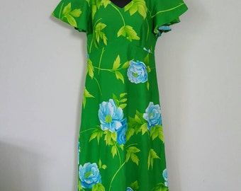 Bright green blue floral Hawaiian maxi dress 1960