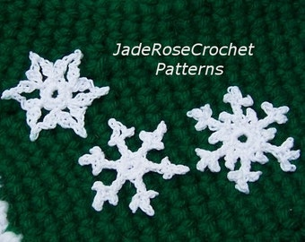 Crochet Snowflakes Patterns, Six Crochet Ornaments Pattern, Crochet Snowflake Applique Pattern, Crochet Snowflake Earrings Pattern, PDF700/4