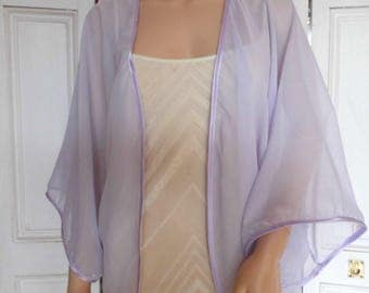 Lilac chiffon kimono/jacket/wrap/cover-up/bolero with satin edging