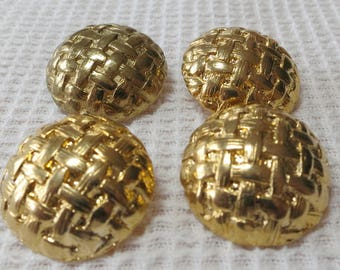 """Buttons. Set of 4 matched vintage metal, shank, domed, gold toned, basket weave. 1""""ins across, sewing buttons, good condition.  UNK16.12-1.1"""