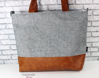 Extra Large Lulu Tote Overnight Diaper Bag - Grey Denim and PU Leather - READy to SHIP Zipper Closure Beach Dance Travel Bag 7 pockets