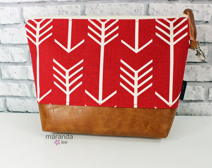 AVA Clutch -3 Sizes - Red Arrows with PU Leather Cosmetic  Diaper bag Travel Make Up Zipper Pouch Archer Archery
