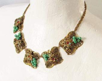 Vintage Art Deco Czech Necklace Peking Glass Beaded Multi Color Rhinestone 1930s Gold Filled Grape