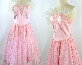 1980s Pink Strapless Formal Dress by Steppin' Out, Romantic, Frilly Prom Dress