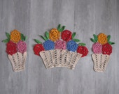 Vintage Crocheted Colorful Flowers in Pot Doiley Set (3)