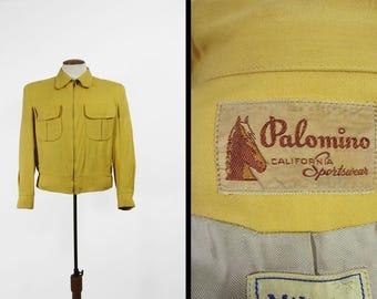 Vintage 1950s Ricky Jacket Gold Gabardine Palomino California Sportswear - Size Medium
