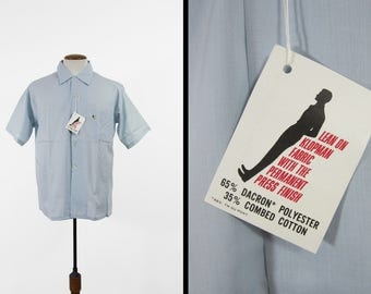 Vintage 60s Loop Collar Shirt Sky Blue Short Sleeve Deadstock NOS Button Up - Large
