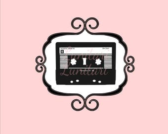 Retro cassette tape 1980's image PNG only