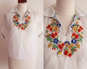 Reserved for Natthada - Vintage Peasant Blouse - 1970's White Hand Embroidered Hungarian Blouse - Size S-M