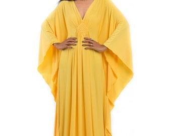 Yellow Kaftan Dress - Bright Yellow Maxi Dress - Kimono Butterfly Dress: Funky Elegant Collection No.1s