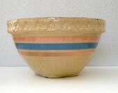McCoy Banded Mixing Bowl Large Medium Yellow Ware Crock Blue Pink Band Striped Bowl McCoy Yelloware USA Crock Mixing Bowl Pudding Bowl Crock