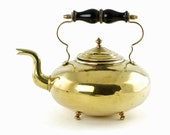Antique Victorian James Clews Birmingham Polished Brass Toddy Kettle with Turned Wood Handle
