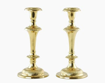 Vintage Gadroon Edge Solid Brass Candlesticks Andrea by Sadek New Old Stock