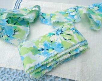 Vintage Blue Floral Ribbon / Retro Fabric Ribbon / Fabric Streamers / Hand Made Ribbon / Torn Ribbon / Ripped Ribbon / Crafting / Sewing