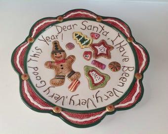 Vintage santa cookie plate | Etsy