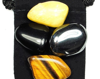 WILLPOWER Tumbled Crystal Healing Set - 4 Gemstones w/Description & Pouch - Calcite, Hematite, Obsidian, and Tiger's Eye