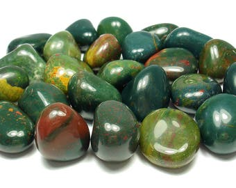 TUMBLED - (2) Medium/Large BLOODSTONE Crystals with Description Card - Healing Stone Reiki