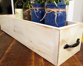 Off White Wooden Box Distressed Handmade with Handles on Both Ends - Linen