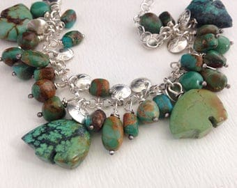 Handmade, One Of A Kind, Southwestern, Sterling Silver, Turquoise, Bears, Hand Stamped Beads, Charm Bracelet