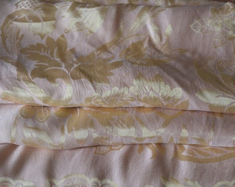 "Satin Brocade Bedspread, Reversible, Pale Pink and Yellow Silk or Silk Blend, Italian, 74""w. x 86""l."