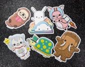 Kawaii Japan Sticker Pack, Pig Otter Turtle Woolly Mammoth Space Cat Bunny Cloud Rainbow, Vinyl laptop sticker decal, Easter basket gift