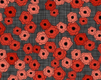 Poppies in Bloom - Coral Red Pink Poppies on Gray by Patrick Lose from Patrick Lose Fabrics