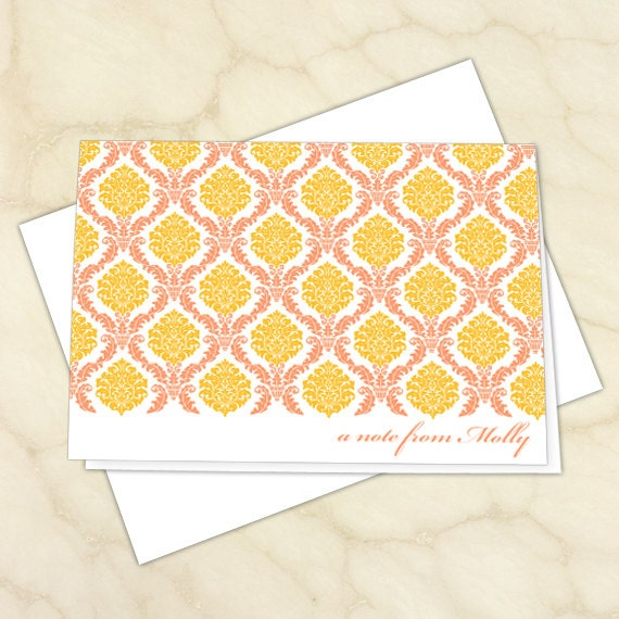 personalized notecards, notecard set, gold thank you cards, coral thank you notes, thank you cards, teacher appreciation, NC136