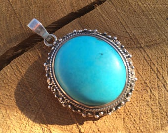 Sterling Silver Pendant with Turquoise Howlite stone