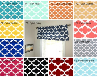Curtain Valance Topper Window Treatment 52x15 Moroccan Fynn Geometric Navy Red Pink Black Choose Color