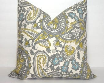 Citrine Summerland Henna Paisley Blue Grey Taupe Ivory Print Pillow Cover Decorative Pillow 18x18