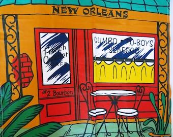 New Orleans Bib Apron French Quarter Gumbo Po Boys Bourbon Street Novelty Apron Mardi Gras Collectible Chef Cook Gift