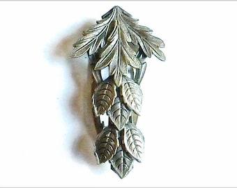 Art Nouveau Pewter Repousse Dress Clip  1910 - 1920