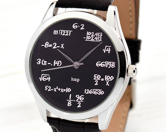 Math on Black Wrist Watch   Gifts For Christmas   Math Gifts   Funny Gifts For Men   Math Teacher Gift   Graduation Gift   FREE SHIPPING