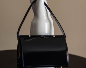 1960's Evening Handbag in Black Patent Leather