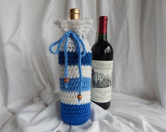 Wine Bottle Cover - Crochet Wine Cozy - Blue and White with Wood Beads