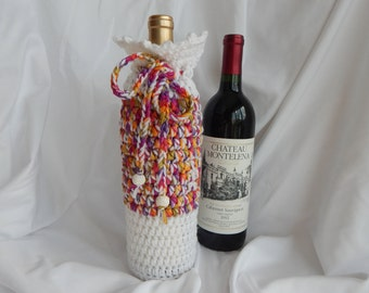 Crochet Wine Bottle Cover Cozy Gift Wrap - White with Woven Ribbon and Sparkle Beads