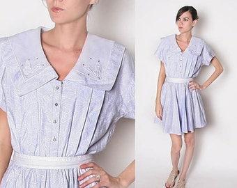 ON SALE Vintage 80s Lavendar dolly mini dress