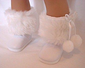 "18 Inch Doll White Faux Fur Boots, 18"" Doll Shoe, 18 Inch Doll Boots, AG Doll Boots"